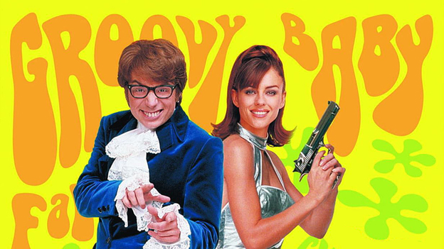 "Austin Powers poster bearing the words ""Groovy Baby"""