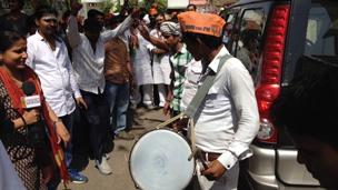 Celebrations at the Narendra Modis election office in Varanasi