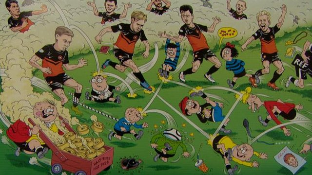 David Sutherland's artist's impression of Dundee United and the Bash Street Kids