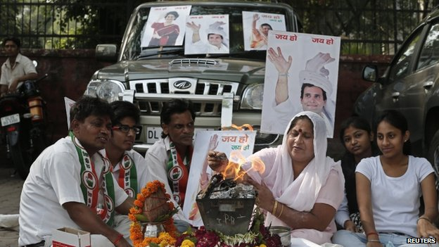 """Congress party workers perform a """"Yagya"""", a Hindu ritual, for their party outside Congress headquarters in New Delhi"""