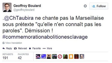 Tweet posted by Geoffroy Boulard criticising Christiane Taubira