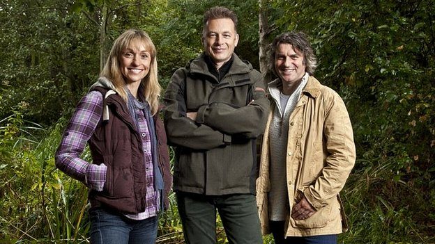 Michaela Strachan (left), Chris Packham and Martin Hughes-Games