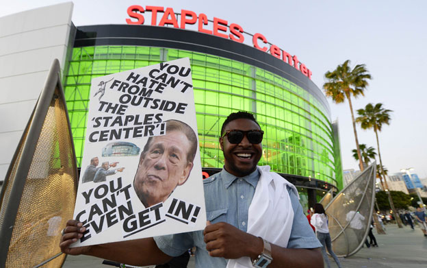 Protester at Staples Center