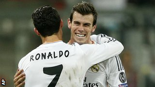 Gareth Bale with Real Madrid team-mate Cristiano Ronaldo