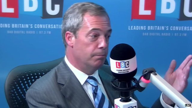 Nigel Farage in LBC radio studio