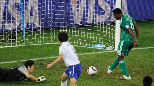 Yakubu misses for Nigeria against South Korea at the 2010 World Cup.