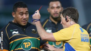 Northampton's Salesi Ma'afu is sent off