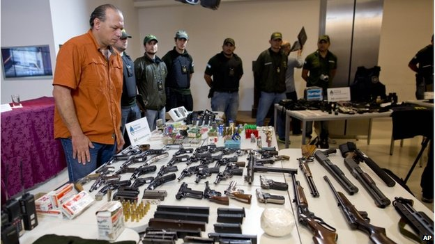 Guns and ammunition seized by Argentine authorities