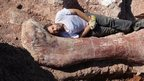 Dr Diego Po lying next to dinosaur bone