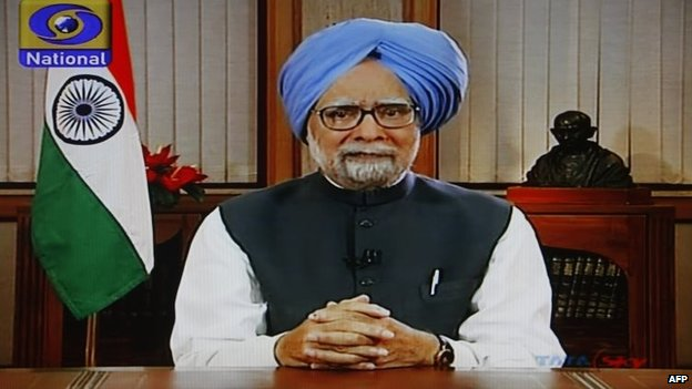 Indian Prime Minister Manmohan Singh in a screengrab taken from his state television address, 17 May 2014