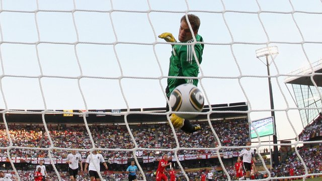 Manuel Neuer watches the ball at the World Cup in South Africa in 2010.
