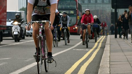 Cyclists on London roads