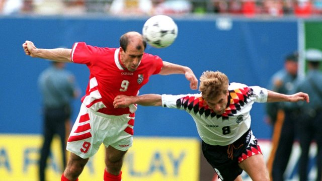 Iordan Letchkov scores for Bulgaria against Germany at World Cup 1994.