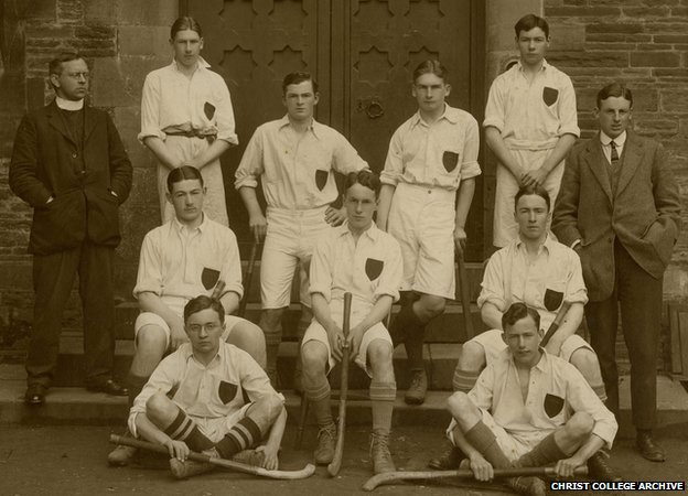 David Cuthbert Thomas (top row far left - next to vicar) in a Hockey team picture from his old school Christ College Brecon