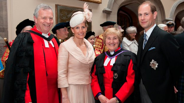 The new moderator of the General Assembly, the Right Reverend John Chalmers with the Countess of Wessex, the outgoing moderator Lorna Hood and Prince Edward