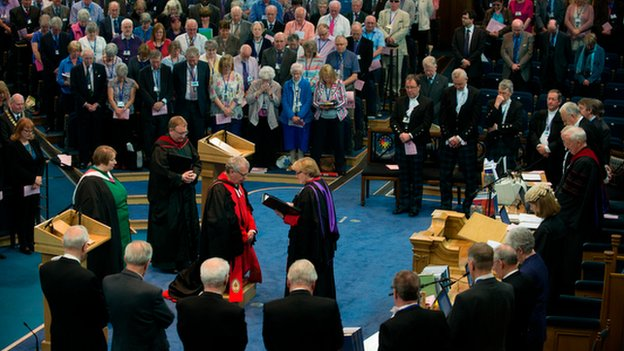The new moderator was installed at the opening of the General Assembly
