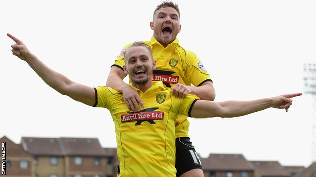 Adam McGurk celebrates scoring for Burton Albion