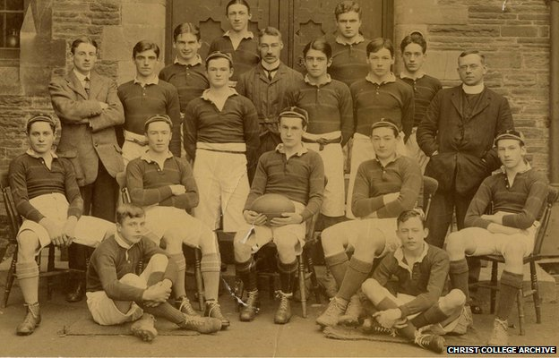 Pictured here is David Cuthbert Thomas (Front row far right)  in a rugby team picture from his old school Christ College, Brecon