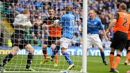 Here is the moment Stevie May decided to punch the ball in with his hand.