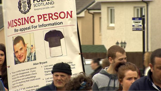 About 100 people joined the march over missing man Allan Bryant