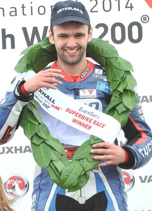 William Dunlop celebrates winning the opening Superbike race