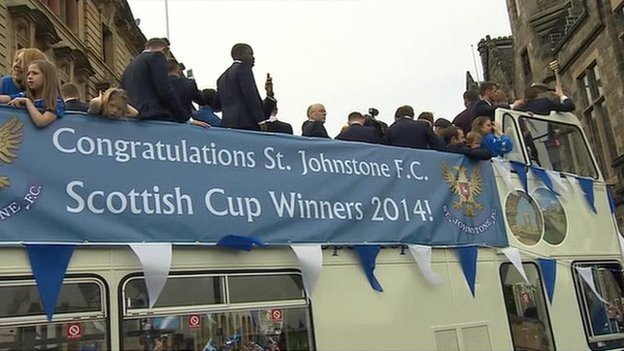 The St Johnstone team are taking a tour of the city in an open-top bus