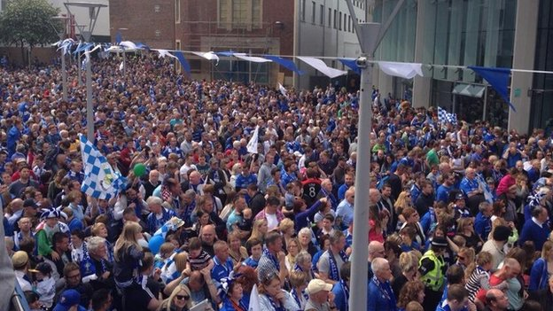 The whole of Perth town centre is a sea of blue and white