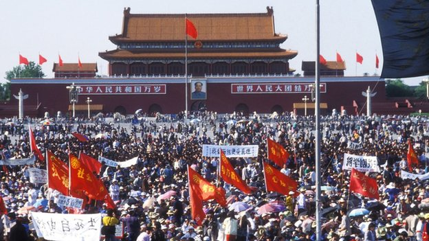 Pro democracy supporters gathered in Tiananmen Square in May 1989