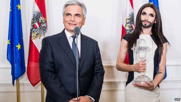 Austrian chancellor Werner Faymann (left) speaks with Austrian European Song Contest winner Conchita Wurst (right) before she performs in front of the Chancellors office for some 8,000 guests in Vienna, Austria, 18 May 2014