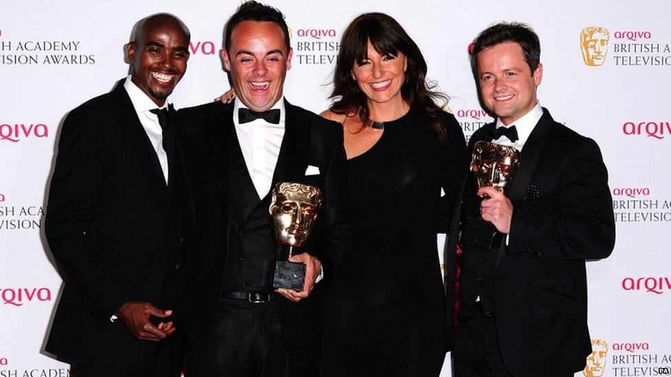 Anthony McPartlin (second left) and Declan Donnelly (right)  Mo Farah (left) and Davina McCall