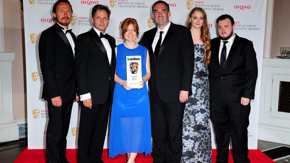 Presenters Jerome Flynn (far left), Sophie Turner (second right) and John Bradley (far right) with winners of the Audience Award for Doctor Who