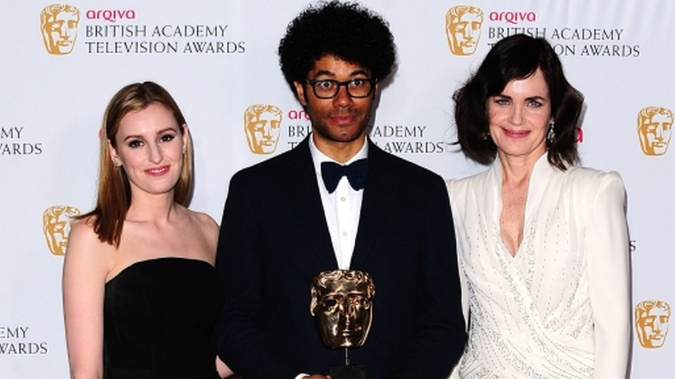 Downton Abbey's Laura Carmichael and Elizabeth McGovern with Richard Ayoade