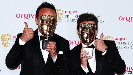 Ant and Dec with their Bafta masks