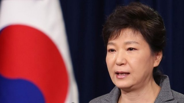 South Korean President Park Geun-Hye weeps during an address to the nation about the sunken ferry Sewol