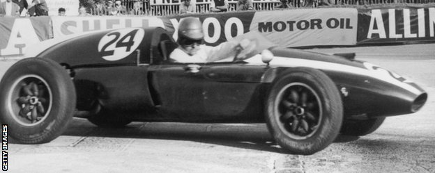 Brabham on his way to winning the Monaco Grand Prix in his Cooper-Climax T51 in 1959