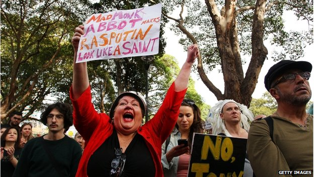 "A woman shouts in support during the ""March in May"" protest at Belmore Park on 18 May in Sydney, Australia."