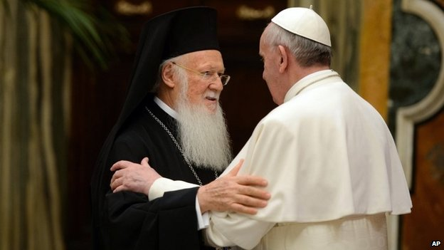 Pope Francis meets Patriarch Bartholomew I of Constantinople at the Vatican (20 March 2013)