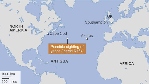 Map showing search area for yacht
