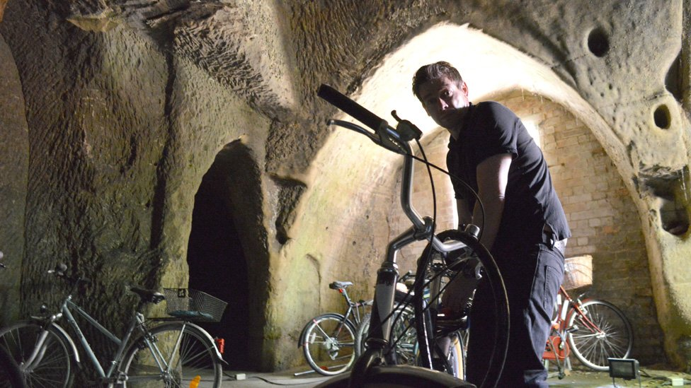 Paul Watkins in the bike shed cave