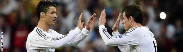 Real Madrid's Cristiano Ronaldo and Gareth Bale