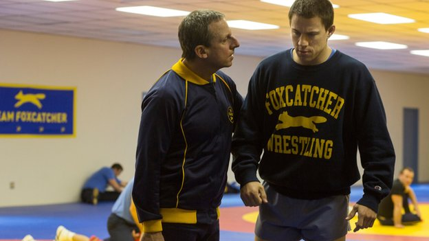 Steve Carrell and Channing Tatum in Foxcatcher