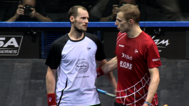 France's Gregory Gaultier and England's Nick Matthew at the British Open Squash Championships men's final