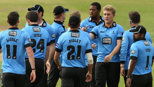 Sussex's Rory Hamilton-Brown (third from right) celebrates a wicket against Middlesex at Lord's