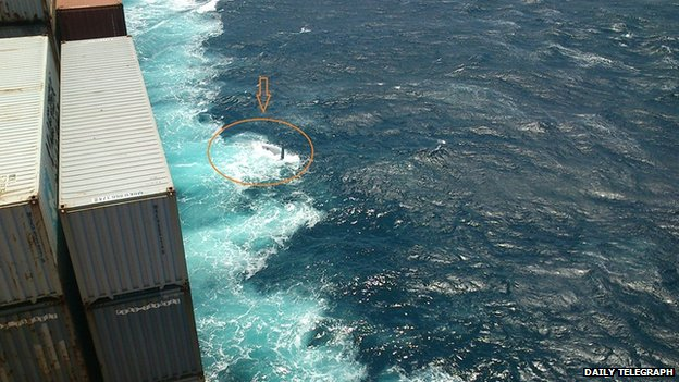 Picture taken by Maersk Kure crew of an upturned hull