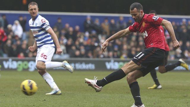 Ryan Giggs scores his last Premier League goal for Manchester United against QPR
