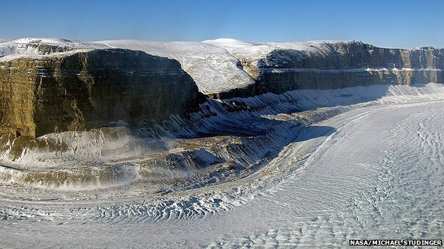 Steensby Glacier flows around a sharp bend in a deep canyon