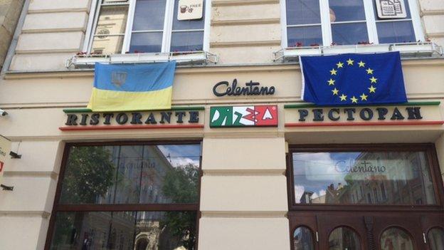 Restaurant in Lviv displaying Ukrainian and EU flags