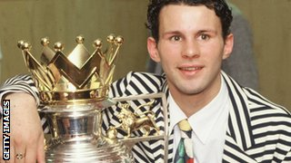 Ryan Giggs with the Premier League trophy in 1993