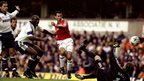 Ryan Giggs scores for Manchester United against Tottenham Hotspur during the 1999-2000 season