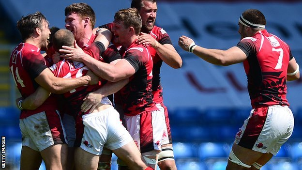 London Welsh celebrate semi-final win